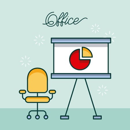 office board presentation pie chart armchair work image vector illustration Illustration