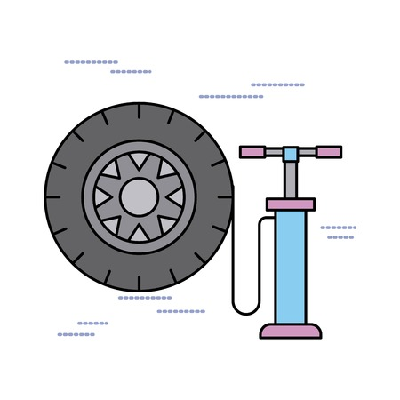 car service tire pump air support concept vector illustration Ilustração