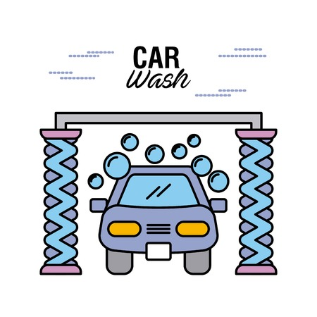 car wash service station auto clean maintenance vector illustration
