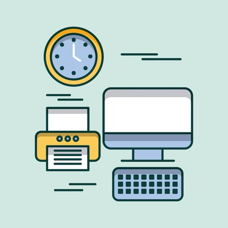computer keyboard printer clock time office equipment vector illustration