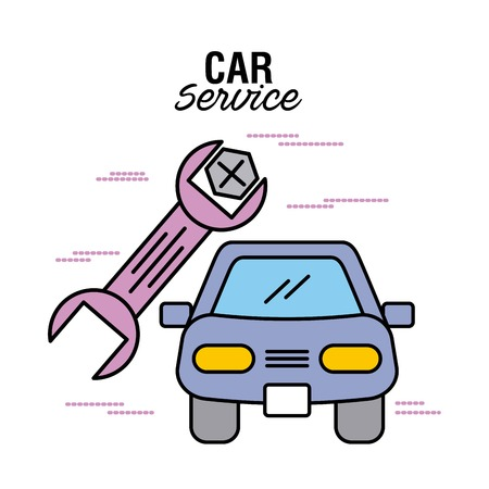 car service vehicle wrench screw tool image vector illustration Ilustrace