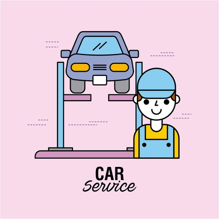 자동차 서비스 차량 정렬 자동 기술자 장비 벡터 일러스트 레이션