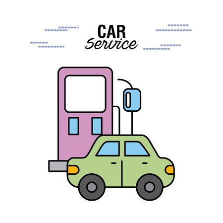 car service station gasoline vehicle transport vector illustration