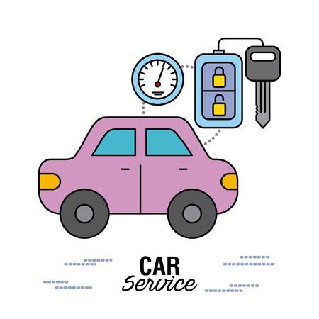 car service control remote key speedometer vector illustration
