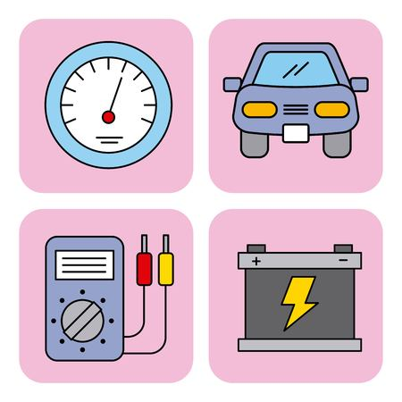 car service equipment tool support set icons vector illustration
