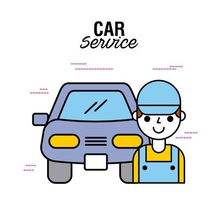 car service man repair mechanic technician vector illustration