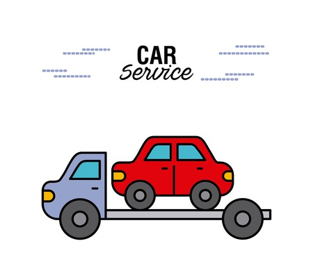 car service tow truck transport help rescue vector illustration