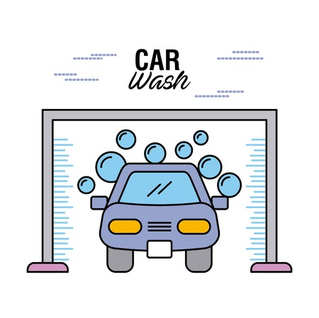 car wash clear auto shampoo water bubble vector illustration