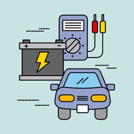 car service battery tester electric power energy image vector illustration