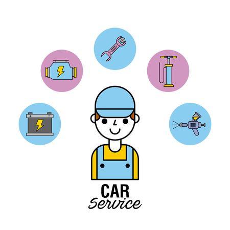 auto service reparateur ingenieur mensen mechanische vectorillustratie Stock Illustratie