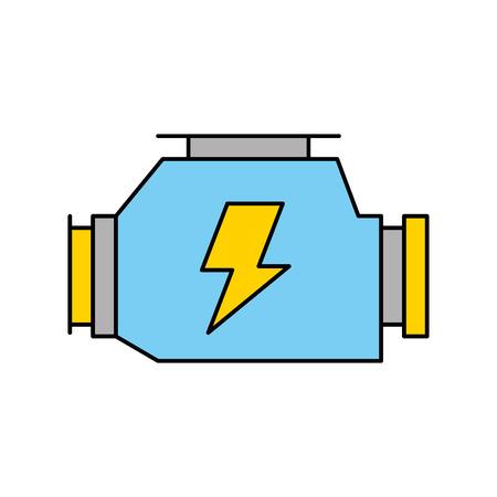 자동차 기화기 강력한 엔진 기계 기호 벡터 일러스트 레이션