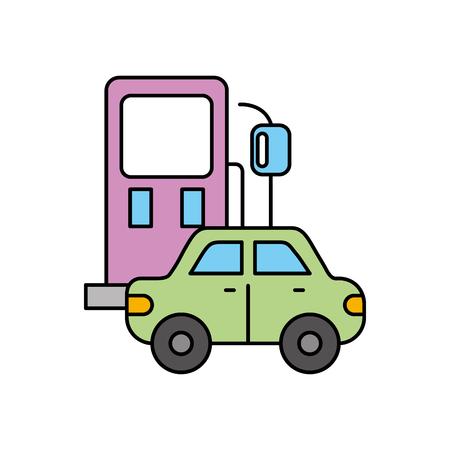 Icono de estación de gasolina y coche sobre ilustración de vector de diseño de fondo blanco Foto de archivo - 85130665