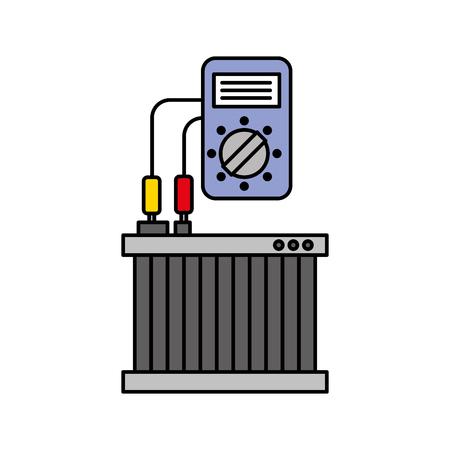 Radiateur de voiture avec testeur mécanique appareil électrique illustration vectorielle Banque d'images - 85130687
