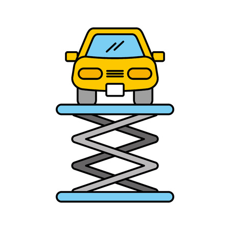 cartoon car front view platform service maintenance vector illustration