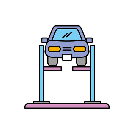cartoon car with alignment device at wheel alignment service station vector illustration Ilustração