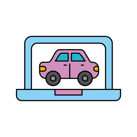 car in display laptop icon service diagnostic vector illustration