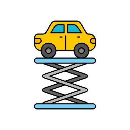 cartoon car over self propelled  lift service maintenance vector illustration Ilustração