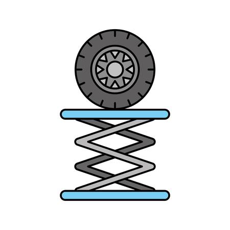 Reifen-Auto in der hydraulischen Plattform mechanische Motor Vektor-Illustration Standard-Bild - 85131561