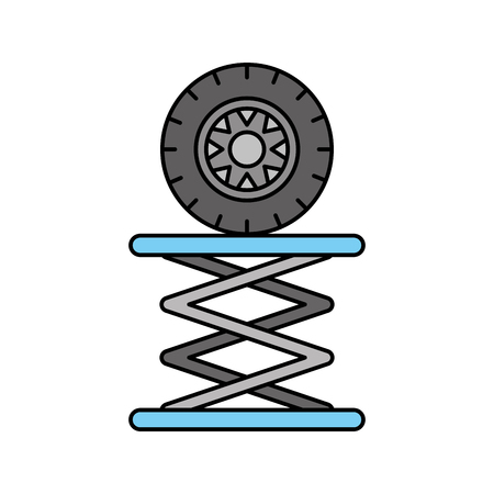 tire car in hydraulic platform mechanical engine vector illustration