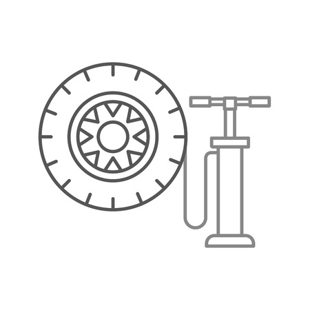 hand pump with car wheel pressure air instrument vector ilustration 向量圖像