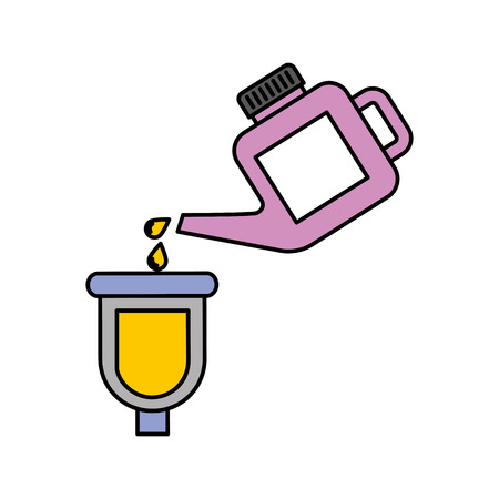 canister pouring paint renovation maintenance car vector illustration