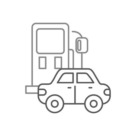 benzinestation en auto pictogram over witte achtergrond ontwerp vectorillustratie