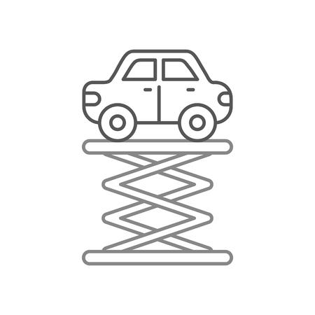 자기 추진 된 리프트 서비스 유지 보수 벡터 일러스트 레이션을 통해 만화 자동차 일러스트