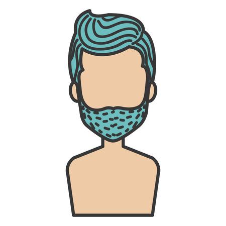 niño sin camisa: Joven hombre sin camisa avatar carácter ilustración vectorial diseño Vectores