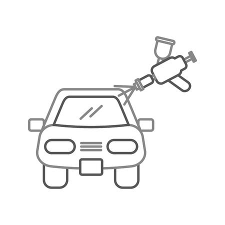 スプレーガンのベクトル図と車ボディ塗装サービス