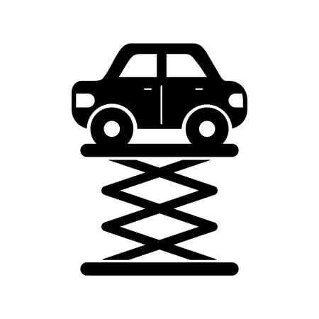 cartoon car over self propelled lift service maintenance vector, illustration