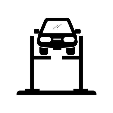 Voiture de dessin animé avec dispositif d'alignement à l'alignement de roue illustration vectorielle station service Banque d'images - 85132930