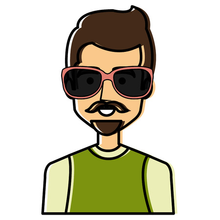 young man avatar with sunglasses character vector illustration design