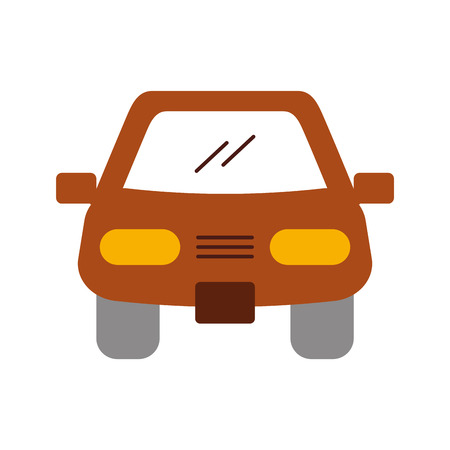 cartoon car vehicle transport front view icon vector illustration Illustration