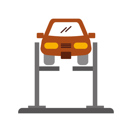 cartoon car with alignment device at wheel alignment service station vector illustration Çizim