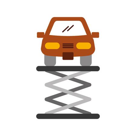 漫画車正面プラットフォーム サービス メンテナンス ベクトル図