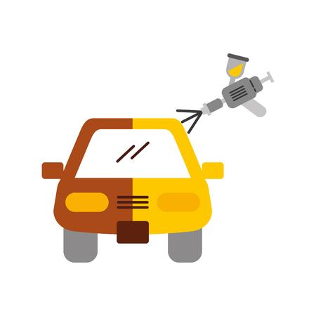 auto lichaamsverfservice met spuitpistool vector illustratie