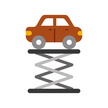 자기 추진 리프트 서비스 유지 보수 벡터, 일러스트 레이션을 통해 만화 자동차