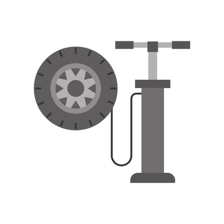 hand pomp met auto wiel druk lucht instrument vector ilustratie
