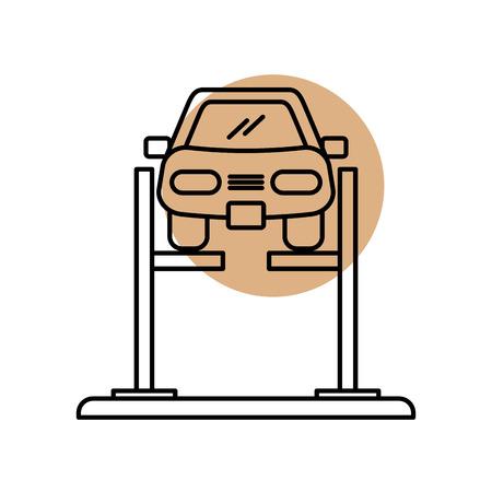 Voiture de dessin animé avec dispositif d'alignement à l'alignement de roue illustration vectorielle station service Banque d'images - 85133213