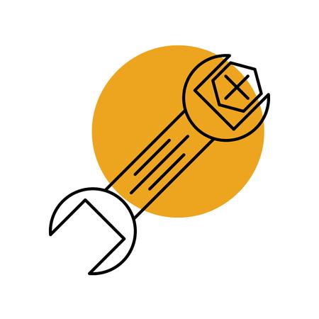 렌치 및 나사 도구 수리 기계 아이콘 벡터 일러스트 레이션을 지원
