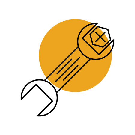 wrench and screw tools repair support mechanical icon vector illustration
