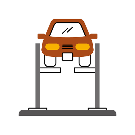 cartoon car with alignment device at wheel alignment service station vector illustration Фото со стока - 85135078