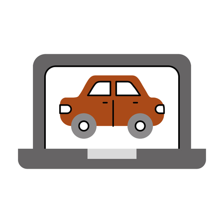 laptop with car wash online technology vector illustration