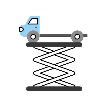 牽引トラック側面プラットフォーム サービス メンテナンス ベクトル図