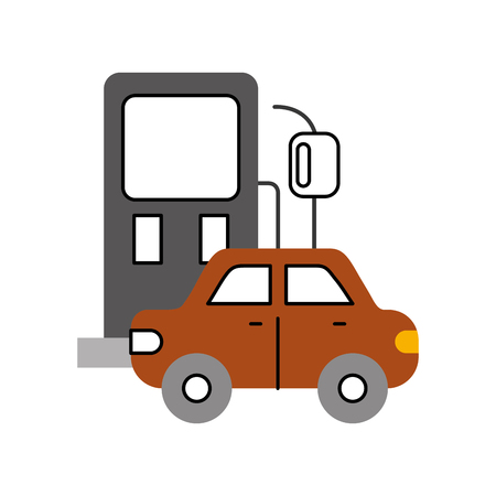 gas station and car icon over white background design vector illustration
