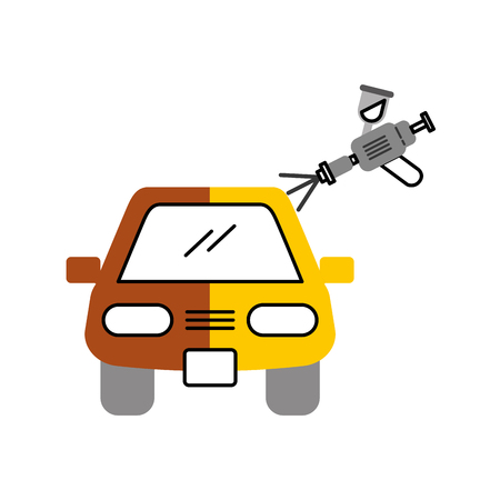 car body painting service with spray gun vector illustration Illustration
