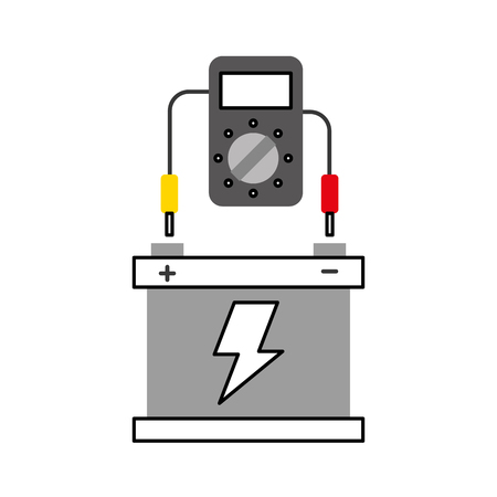 car battery with tester device electrical equipment vector illustration Illustration