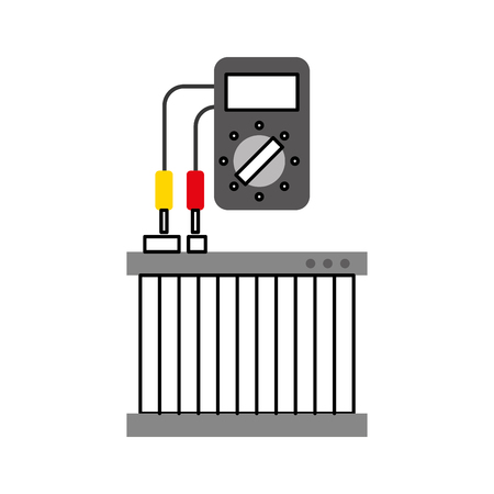 car radiator with tester mechanic electrical device vector illustration