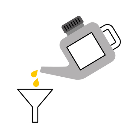 pouring gasoline in funnel drops image vector illustration
