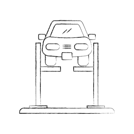 cartoon car with alignment device at wheel alignment service station vector illustration Stock Illustratie